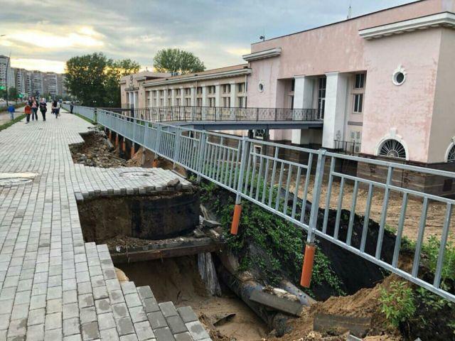 Ливень размыл набережную возле стадиона, построенного в Нижнем Новгороде к ЧМ-2018