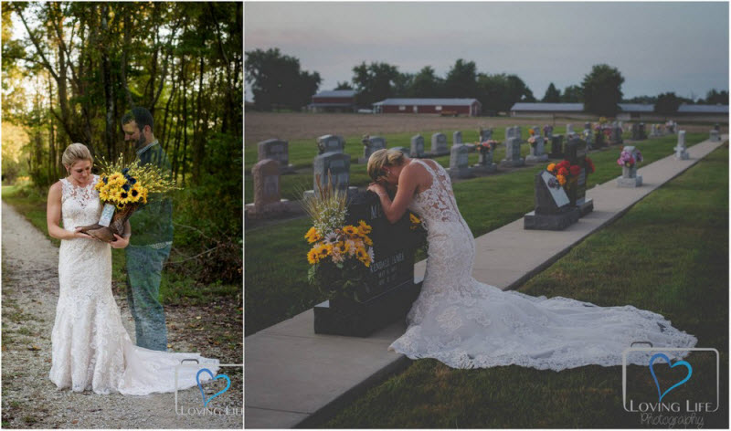 Heartbreaking shots: the bride is crying at the grave of the groom