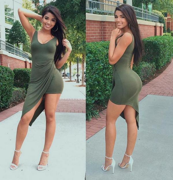 Красивая фигура девушки в платье