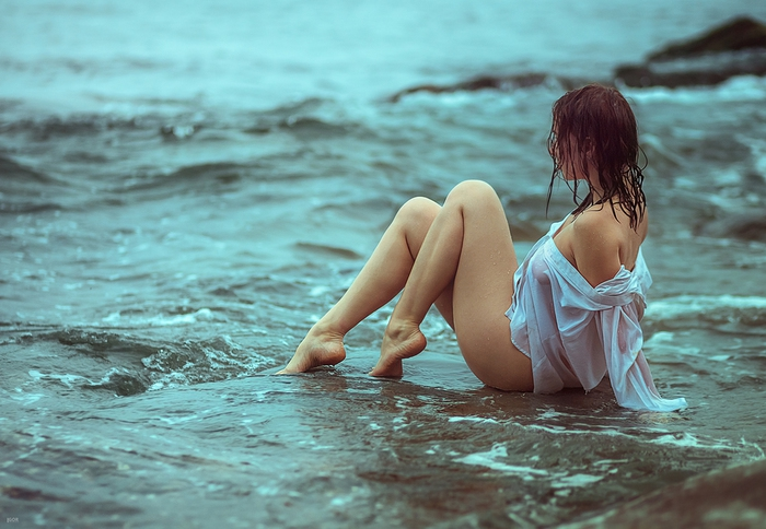 Girls in wet clothes