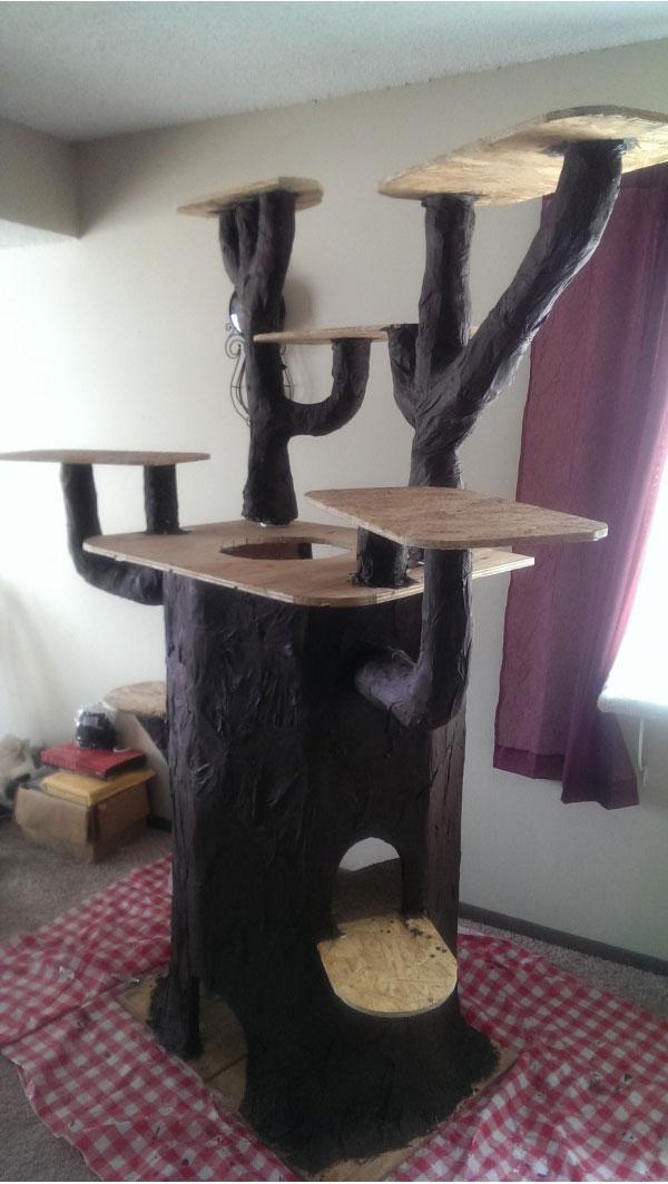 Кошачий домик из подручных материалов фото